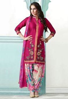 Buy Embroidered Cotton Punjabi Suit in Fuchsia online, work: Embroidered, color: Fuschia, usage: Party, category: Salwar Kameez,…