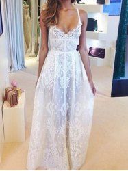 Lace Embroidery See-Through Sexy Style Spaghetti Strap Women's Maxi Dress - WHITE S