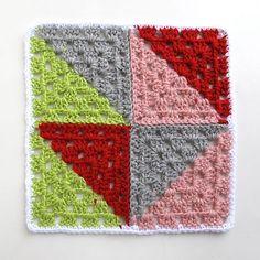 Triangles Scrapghan Block. Two colors each round. This square is from: Beyond the Square Crochet Motifs book by Edie Eckman. I loved the design so much I just purchased the book for my Kindle Fire. ¯_(ツ)_/¯