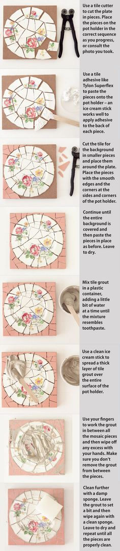 Mosaic 101 - How-to basic tutorial - #mosaic #craft #crafts #DIY #china #plate #glass #tile #tiles #plates - IdeasMagazine - (also on mosaics board)  tå√