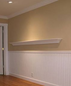 Use beadboard or false panel moldings with chair rail to break up wall in kitchen. If beadboard, can tie in with beadboard backsplash on kitchen inside wall Living Room Paint, Living Room Chairs, Lounge Chairs, Dining Chair, Beadboard Wainscoting, Dining Room Wainscoting, Wainscoting Ideas, Bead Board Walls, Painted Chairs