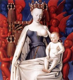 """Right wing of Melun Diptych; """"Virgin and Child Surrounded by Angels,"""" (aka """"La Vierge de Melun"""") showing Charles VII's mistress Agnès Sorel (c.1450).    Wood, 93 x 85 cm, Royal Museum of Fine Arts, Antwerp.  By Jean Fouquet (1420-1481).    This is my least favorite painting ever. I hate those boobs. And the baby Jesus points to nowhere."""