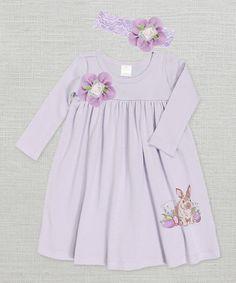 Violet Easter Bunny Flower Dress & Headband - Infant