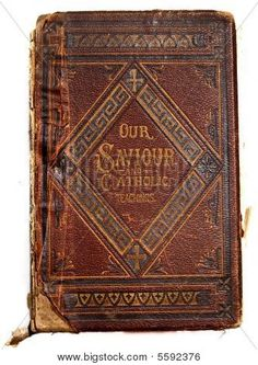 Worn and ragged leather antique book cover