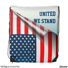 US Flag Drawstring Backpack