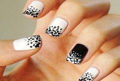 cute black and white acrylic nails