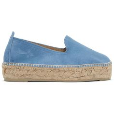 Manebí Blue Suede Hamptons Espadrilles found on Polyvore featuring shoes, sandals, blue, braided sandals, woven sandals, suede espadrilles, espadrilles shoes and suede sandals