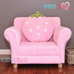 GIRLS-Wooden-PINK-Fleece-STRAWBERRY-SOFA-COUCH-w-CUSHION-New-KIDS-CHAIR-GIFT