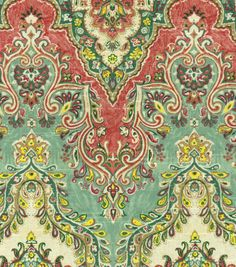 "Throw pillows to tie in sofas and salmon/papaya kit hen walls? Color is ""Palace Sari/jewel"" Joann."