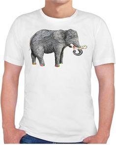 Sanatçı fil Kendin Tasarla - Erkek Bisiklet Yaka Tişört