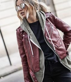 Nice color leather jacket! Get the look in store today - Zefinka.com  | Style and fashion tips or outfit suggestions for the fashion conscious women!.