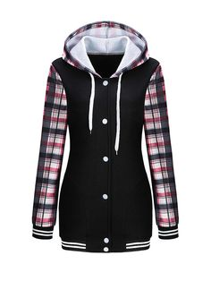 Casual Drawstring Single Breasted Plaid Hoodie