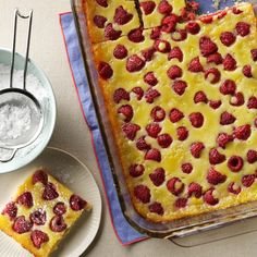 Raspberry Custard Kuchen Recipe -Back where I grew up in Wisconsin, people have been baking this German treat for generations. We love it for breakfast or as a special dessert. It's no fuss to fix and impressive to serve. 13 Desserts, German Desserts, Delicious Desserts, Yummy Food, German Recipes, Pretzel Desserts, French Recipes, Vintage Recipes, Baking Recipes