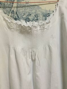 Antique French Night dress. Hand stitched . Monogram MG. Lingerie. White Cotton. Cool nighties for hot nights