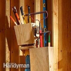 Slanted Garden Tool Rack Plans: Creating a garden tool rack for stashing stuff in the unused spaces between studs is a smart move; adding these slant boxes to expand the space is smarter yet.  http://www.familyhandyman.com/garage/storage/slanted-garden-tool-rack-plans/view-all
