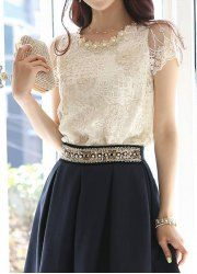 $9.11 Lace Splicing Faux Pearl Beaded Embellished Color Block Short Sleeve Blouse For Women