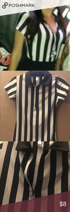 Selling this Women's Referee Shirt (Can be used as a costume) on Poshmark! My username is: jengy. #shopmycloset #poshmark #fashion #shopping #style #forsale #top #shirt #referee #costume #sports #stripes #blackandwhite