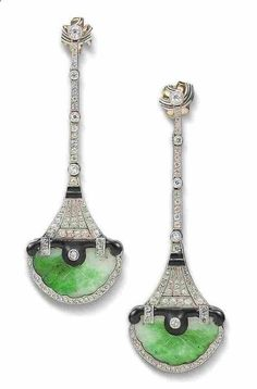 Art Deco Jadite, diamonds, enamel.