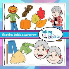 My grandma is a weird little old lady who likes to eat funny things.  This time I caught her eating fall-themed items and she built a scarecrow with it all!What's included:13 color png images with transparent background13 black and white png images with transparent backgroundSee thumbnails for included images.All images saved at 300dpi.Commercial use is allowed with a clickable link to my store within the product.