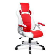 Racing Offce Chair PU Leather Executive Office Computer Gaming Chair High Back White Red Game Room Chairs, Cafe Chairs, Desk Chairs, Cheap Office Chairs, Overstuffed Chairs, Home Office Furniture Sets, Furniture Ideas, Patterned Armchair, Leather Dining Room Chairs