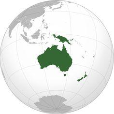 Австралия - материк, континент. Государство Австралия имеет в составе еще и острова.  Океания - острова в Тихом океане.