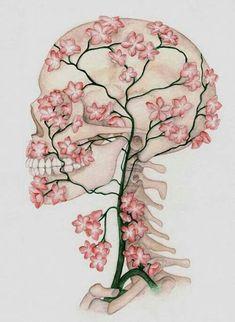 Fondos bellos Tattoos And Body Art eagle tattoo Skull Drawing With Flowers, Skull Tattoo Flowers, Flower Skull, Flower Art, Blossom Flower, Cherry Blossom, Art Floral, Medical Wallpaper, Medical Art