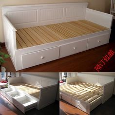 Hemnes daybed with 3 drawers 2 mattresses white for Wooden divan bed with drawers