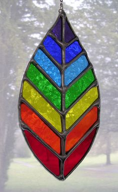 Chakra Leaf! Stunning Rainbow Stained Glass Suncatcher - pewtermoonsilver