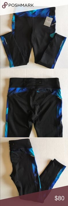 """🆕 Athleta Magnetic Power Lift Pants NWT - These Athleta pants will make you want to work out!  The detailing and colors are beautiful.  There is a zippered pocket on the back top.  Breathable material.  Supportive fabric creates that holds-you-in feel.  Material:  Body - 91% Polyester/9% Spandex. Trimming - 78% Polyester/22% Lycra. Measurements:   Length - 36""""/Waist - 16"""" (does stretch)/Inseam - 27 Athleta Pants Track Pants & Joggers"""