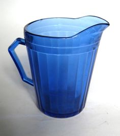 Aurora Cobalt Blue Depression Glass Cream Pitcher or Milk Jug by Hazel Atlas Glass. $20.00, via Etsy.