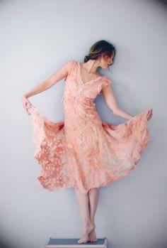 nuno felt dress by Vilte:silk & wool, natural dyes: madder. vilte.net facebook.com/vilte.net
