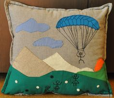 paraglider handmade pillow case