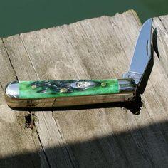 Case Knives | Pocket Worn Bermuda Green Bone SS Tiny Trapper