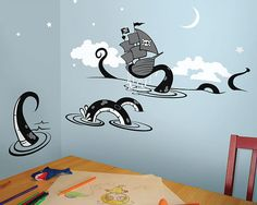 Sea Creature Octopus Wall Decal, Children, kid, Boat, Ship Ocean Wall Decal Wall Sticker Vinyl - 05 on Etsy, $75.00
