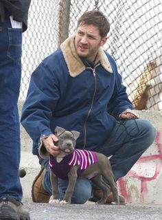 Tom Hardy And A Puppy (In A Sweater!)