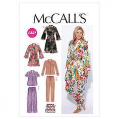 McCalls Ladies Easy Sewing Pattern 6659 Pyjamas & Dressing Gown | Sewing | Patterns | Minerva Crafts