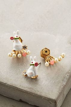 Pearled Rabbit Earrings by Les Nereides