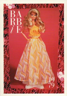 "Shoes 1980 Barbie Collectible Fashion Trading Card  /"" Black Barbie /"" Red Dress"