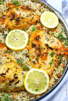 Lemon Herb Chicken Breast with Rice Pilaf Lemon and herbs just make this dish burst with flavor.