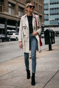 Fashion Jackson Club Monaco Trench Coat Black Sweater Denim Skinny Jeans Black Ankle Booties