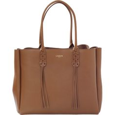 Lanvin Fringed Shopper (84.480 RUB) ❤ liked on Polyvore featuring bags, handbags, tote bags, brown leather tote, leather shopper tote, leather tote bags, leather shopper tote bags and brown leather purse
