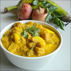 Chettinad Vazhakkai Kurma recipe with step by step photos. A creamy & flavourful coconut based stew using plantains that is served as a side dish with rice. North Indian Recipes, South Indian Food, Indian Food Recipes, Ethnic Recipes, Vegetarian Gravy, Vegetarian Recipes, Veg Dishes, Side Dishes, Kurma Recipe