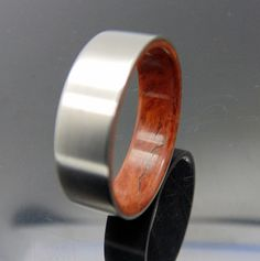 Titanium and wood ring Coolibah Burl liner waterproof