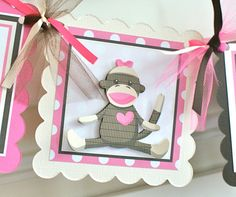 NEW  Girly Sock Monkey High Chair Banner by ToadallyCuteParties, $12.00