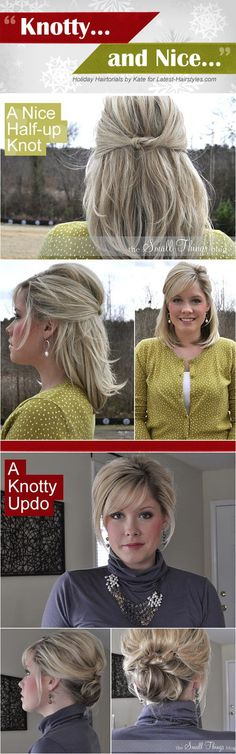 """Knotty"" and Nice updo tutorials! this woman has a ridiculous knack for creating flawless do's. I've tried a few of them, most work ok with my medium length hair, but they never look as good as hers. Gotta try this up-do, though!"