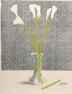 bleistift-und-radiergummi:    David Hockney Lithography 'Lillies' 1971