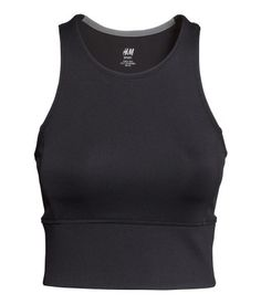 Cropped, sleeveless, racer-back workout tank top in black fast-drying, functional fabric. | H&M Sport