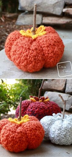 Fun Autumnal Colorful Crochet Pumpkins. This chunky pumpkin will make your home (or porch) really ready for Thanksgiving. Fall will be much more cosy with these pumpkin decorations. There's even a chance it will become your favorite season! This pumpkin is fast and easy so make, and the finished size is 5'' x 3''. #freecrochetpattern #fall #pumpkin