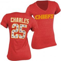 Kansas City Chiefs NFL Jamaal Charles #25 Womens Name & Number Tri-Blend Ringer T-Shirt (Red) 49ers Kaepernick, Kansas City Chiefs Apparel, Jamaal Charles, Sport Outfits, Nfl, T Shirt, Number, Shopping, Tops