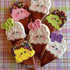 Ice cream cone cookies in every style imaginable! Some have royal icing while others, like the first one, has both royal icing and buttercream. Some use real ice cream cones and others ma. Iced Sugar Cookies, Ice Cream Cookies, Fancy Cookies, Cute Cookies, Royal Icing Cookies, Kawaii Cookies, Cupcakes, Cupcake Cookies, Cakepops